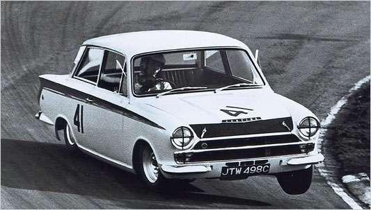 Jim Clark racing in his Lotus Cortina