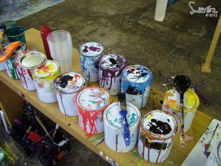 cans of enamel paints