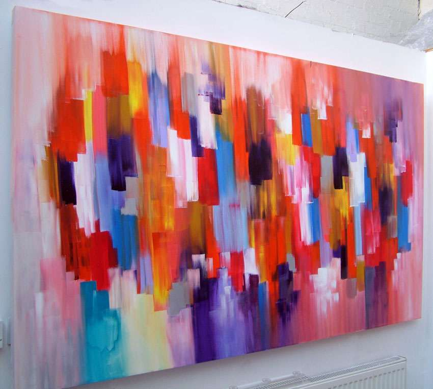 Abstract art canvas painting dante large orange and red art for How to abstract paint