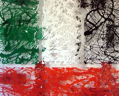 Acrylic Drip Art Painting Pollock Styled In Uae Flag