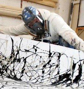 Swarez doing a drip painting