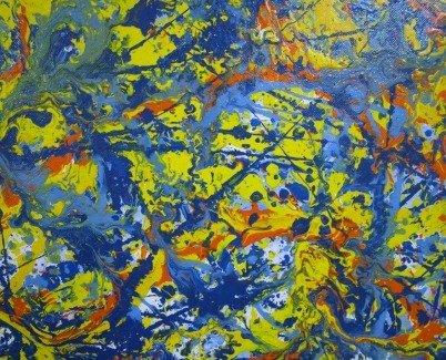 drip painting in Jackson Pollock style