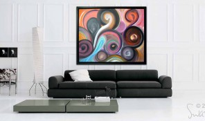 contemporary art painting in a black frame