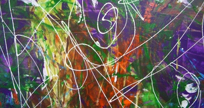 Purple swirls of paint