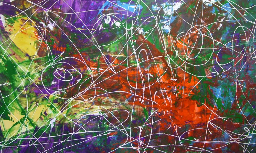 Red Purple And Green Original Painting Called Sixes And