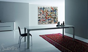 dining room with modrn art