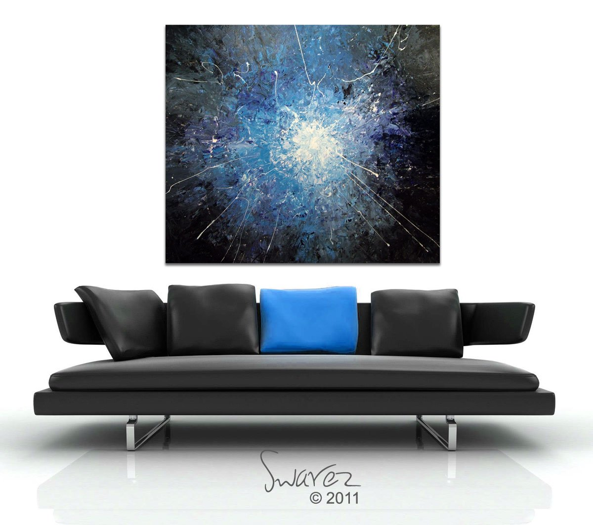Black, White and blue abstract art
