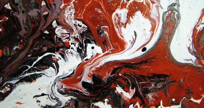 black and red painting