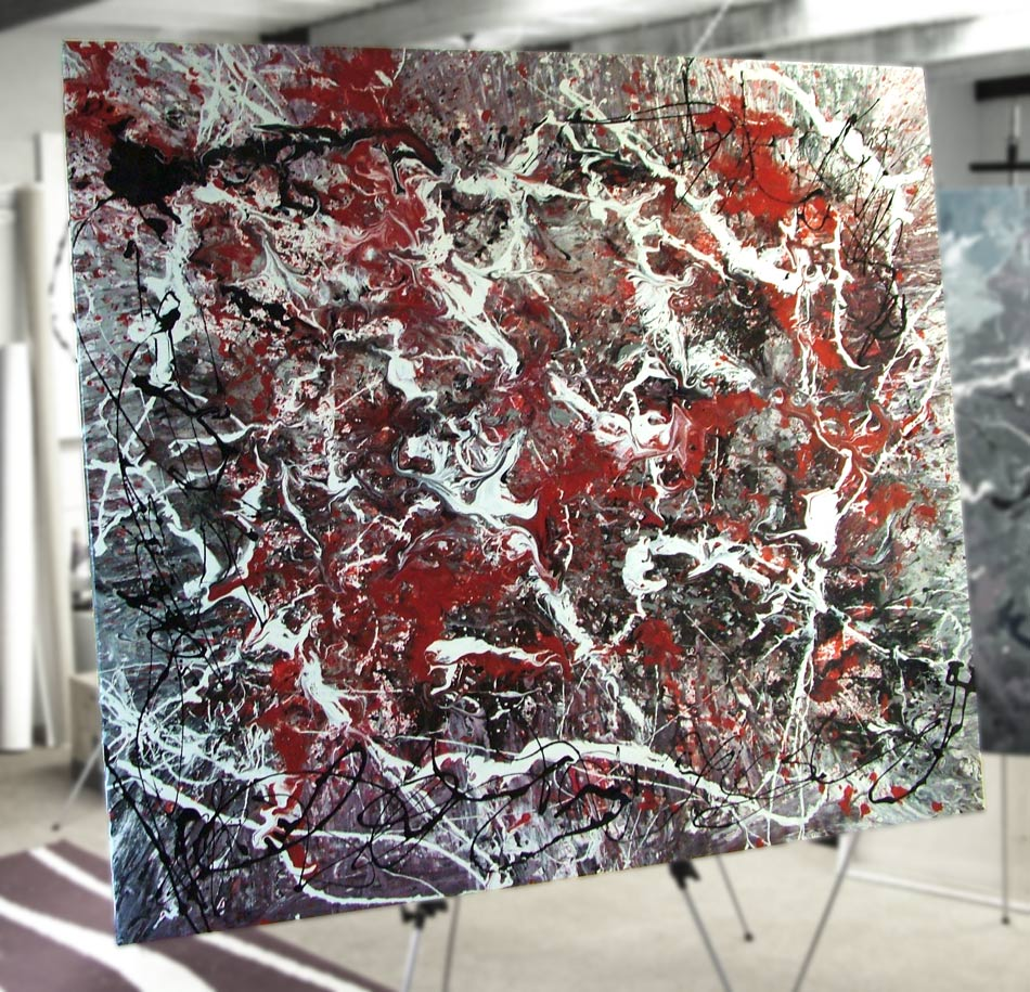 Red White And Black Drip Painting Jackson Pollock Art