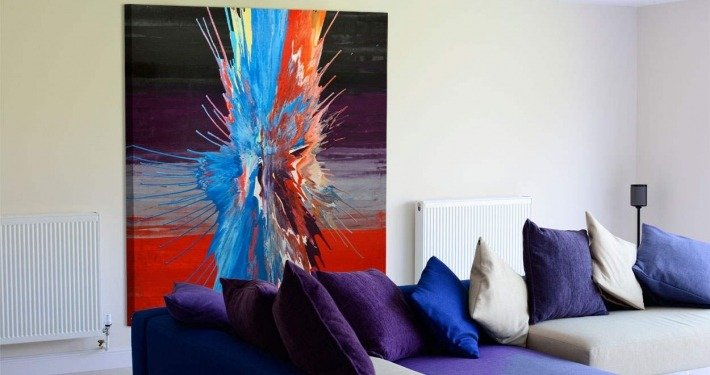 Multi colored art in a living space