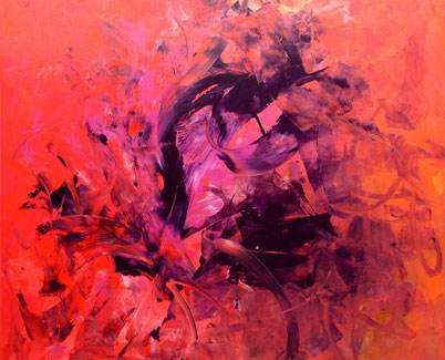 Pink, red and orange painting
