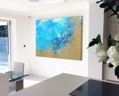 Atlantic Drift painting in a kitchen