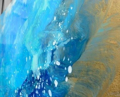 Blue and gold paint on an original painting
