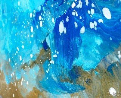 Bottom left corner of Atlantic Drift blue and gold art