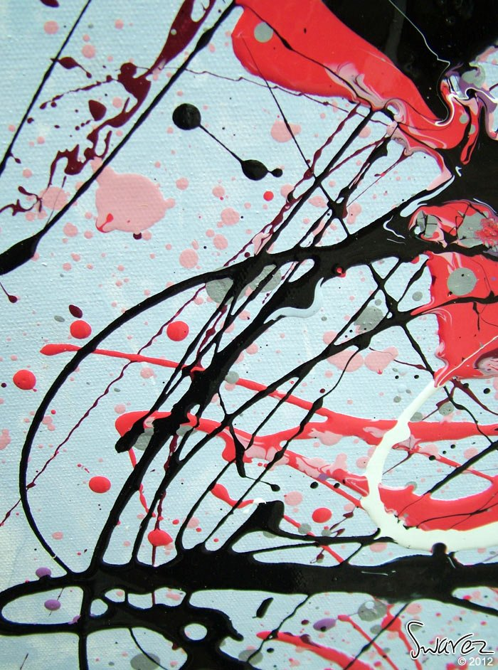 Large Drip Painting Pink Black And White Art Pot Monsters