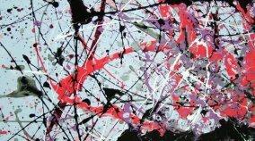 black and red splash art