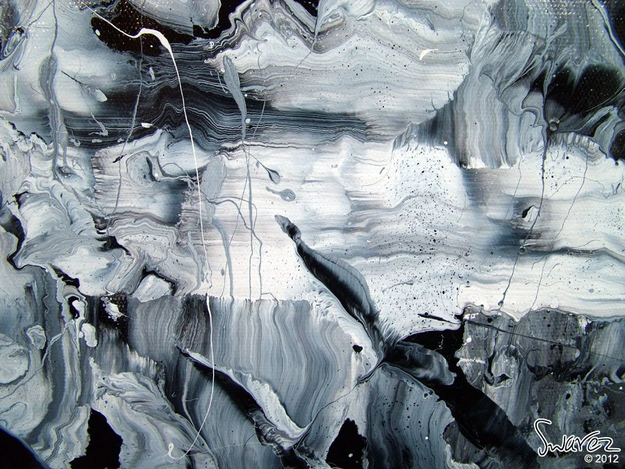 A medium sized piece of black and white abstract art
