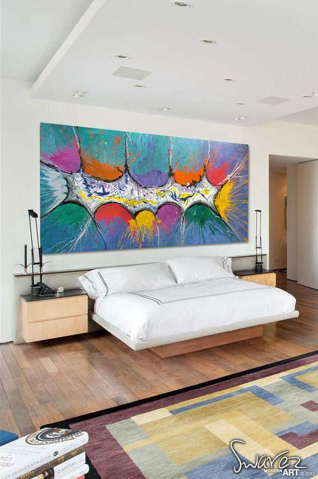 very big abstract canvas painting large size multi