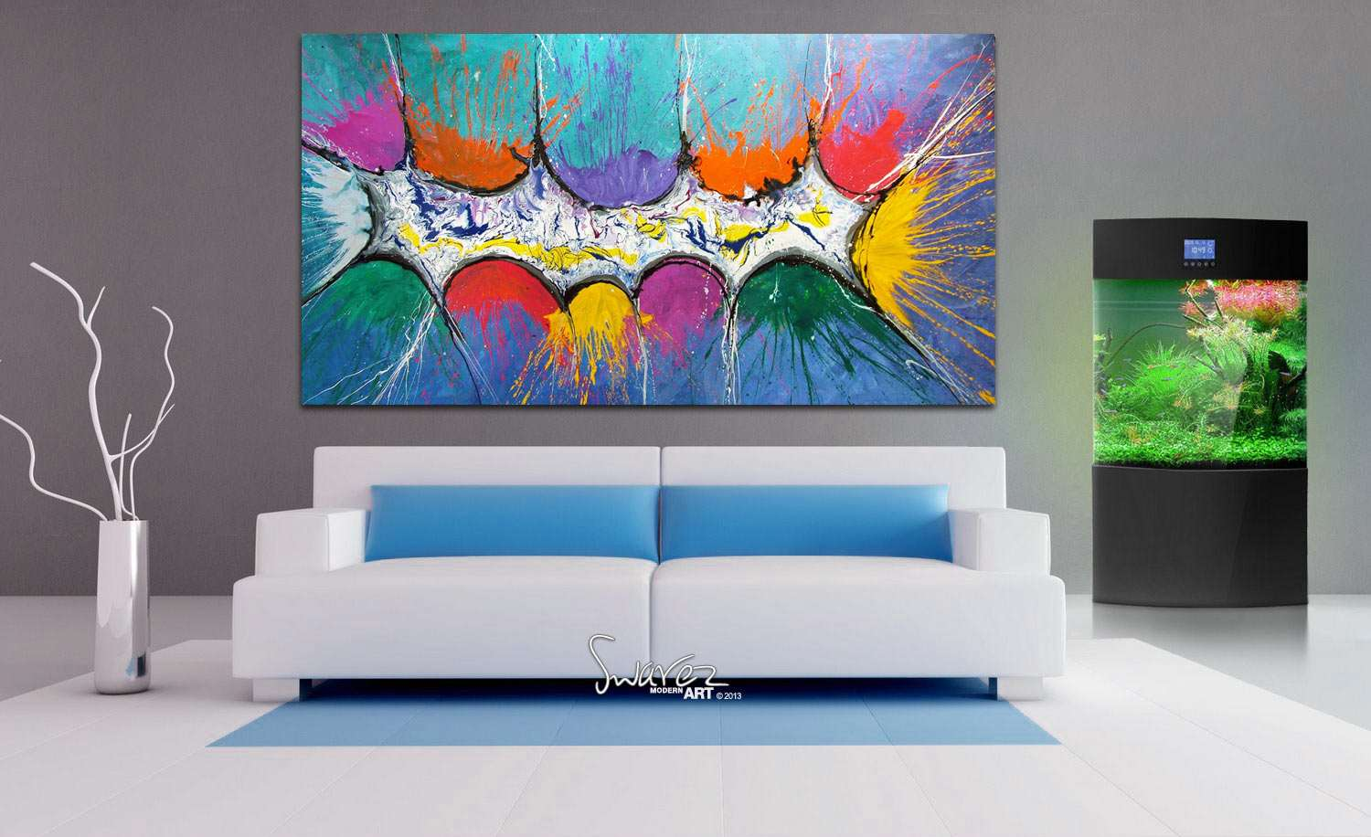 Very big abstract canvas painting large size multi for What is canvas painting