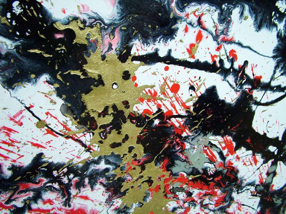 Large Red White And Black Abstract Art Original Painting