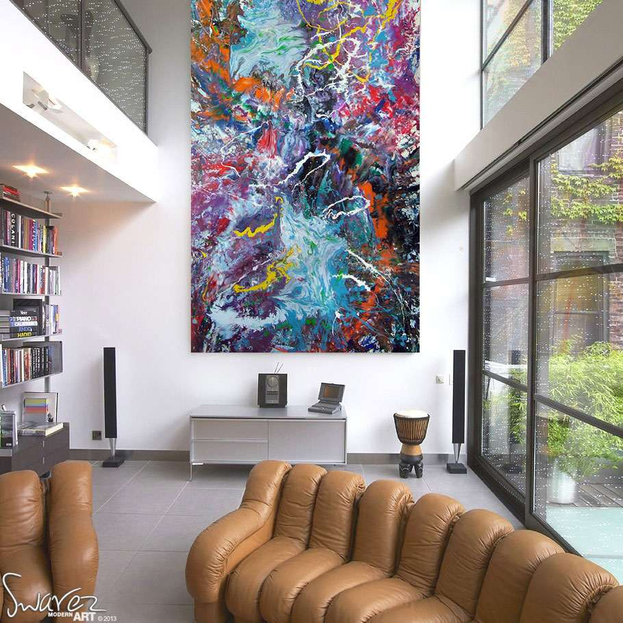 Large size multi coloured painting sold defying gravity for Large art for sale