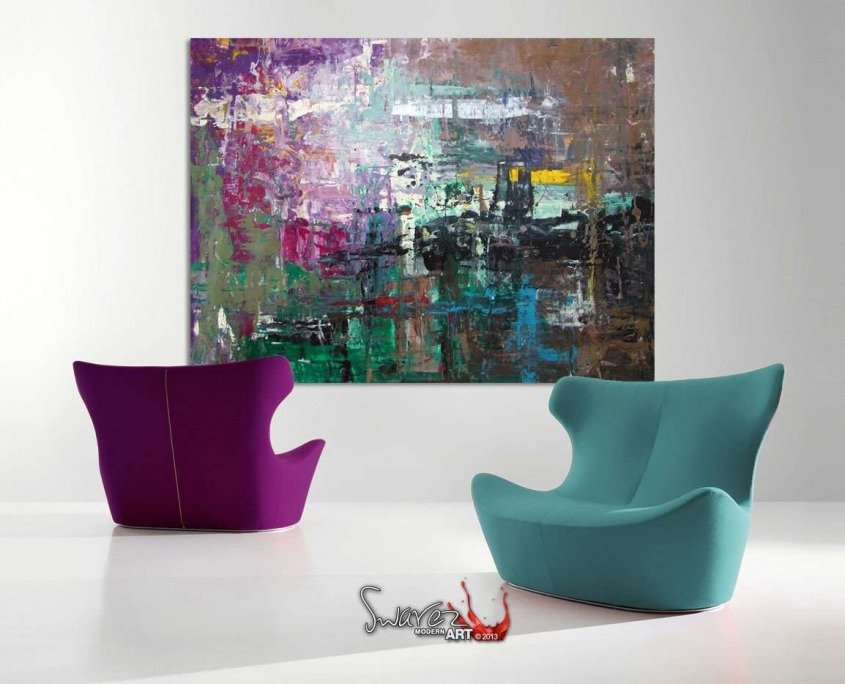 Richter inspired art and two modern chairs