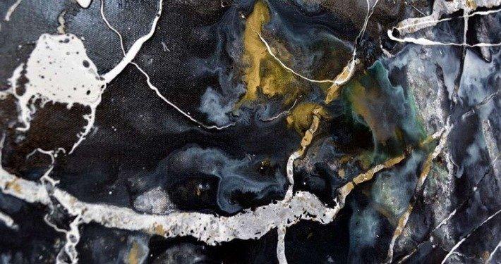 dark black and gold modern art