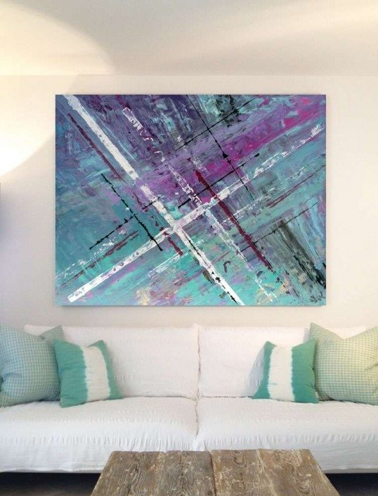 Original art called Timeslides hanging in a Mallorca Villa