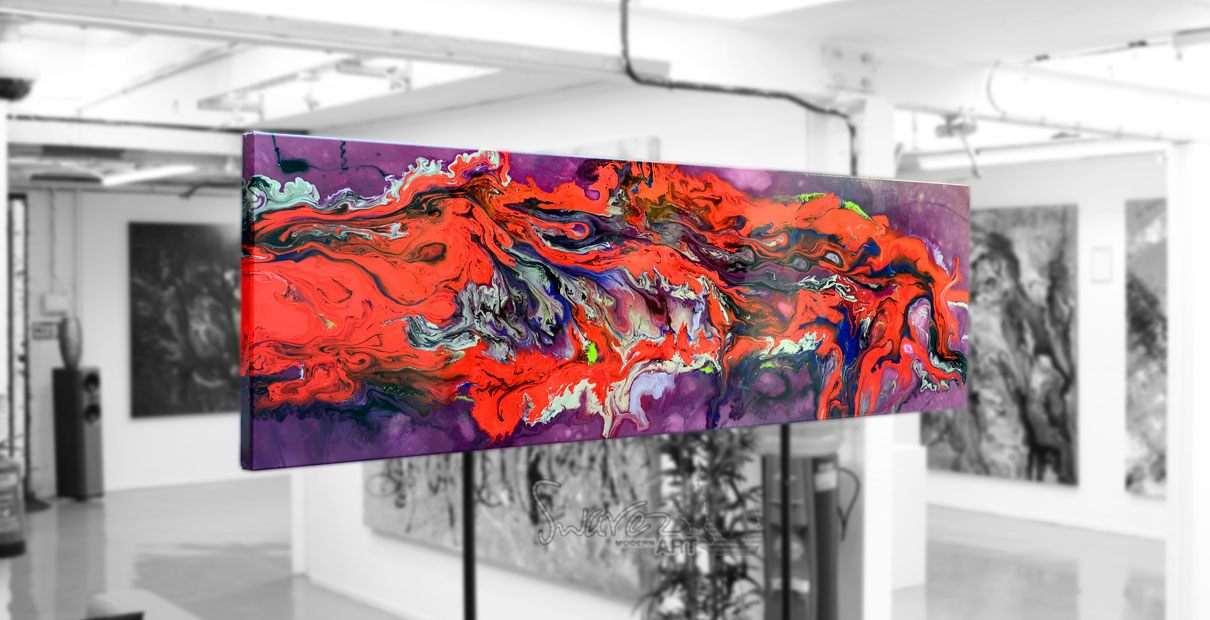 Long shaped original art on a stand