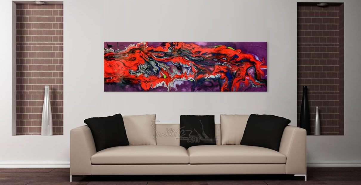 Pacific Crest painting hanging above a sofa in a living room