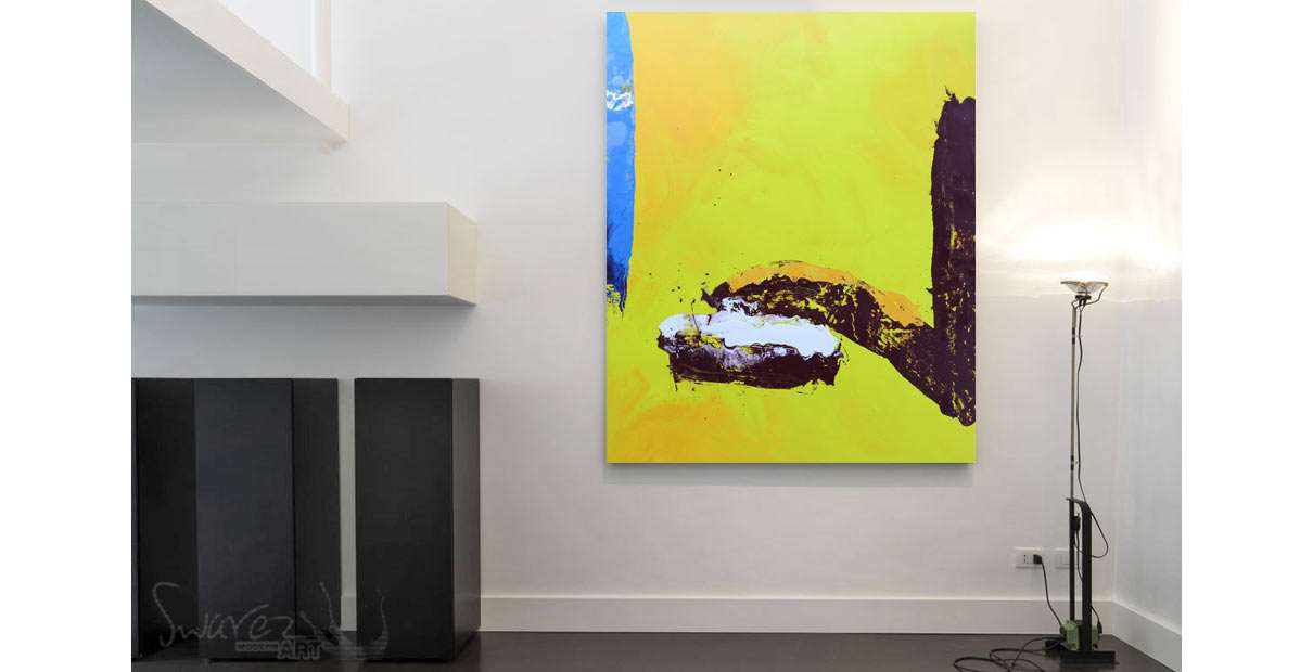 Trendy yellow painting in a loft space
