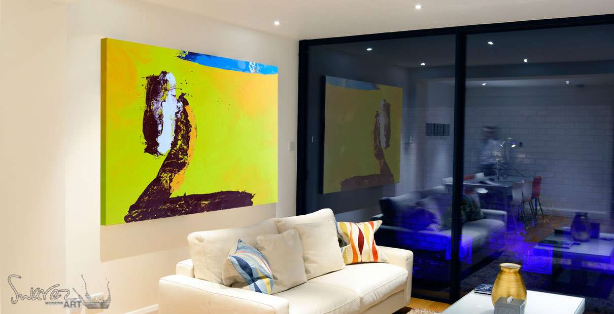 Yellow art canvas Noble Samurai in a living room