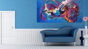 modern blue sofa in a big room