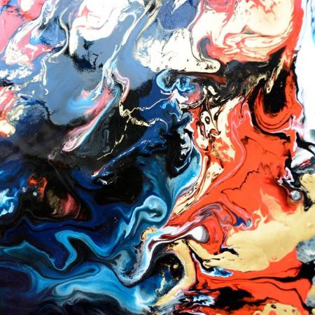 close-up of dark black and red art