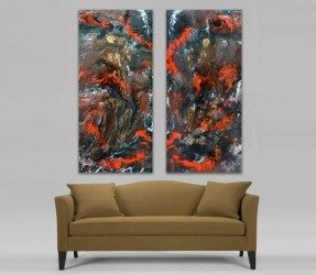 beige taupe sofa and two art paintings