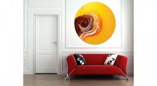 Callisto art and a big red sofa