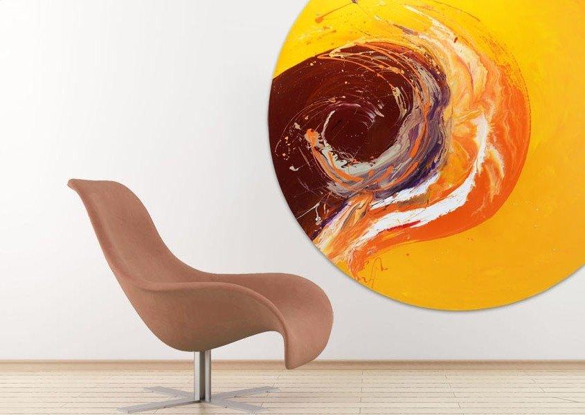 art behind a curvy chair