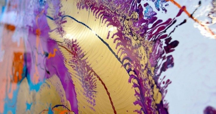 gold and purple painted canvas