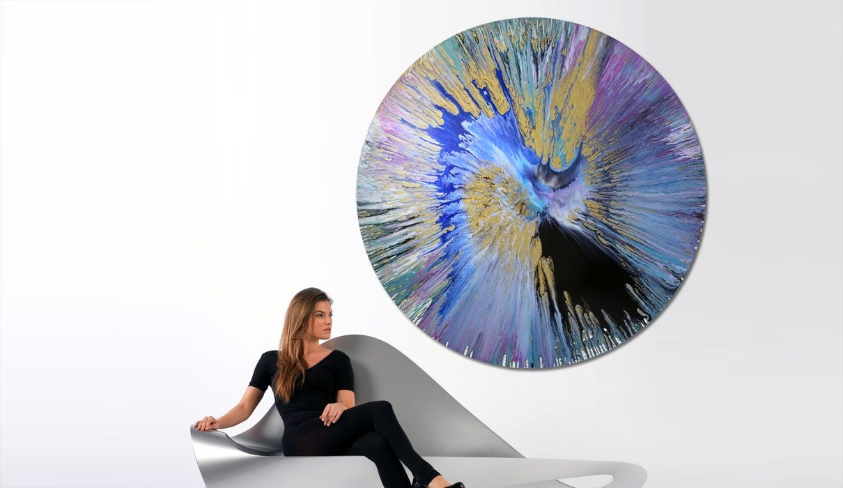 Round Canvas Painting In Blue Gold And Black Spin Art