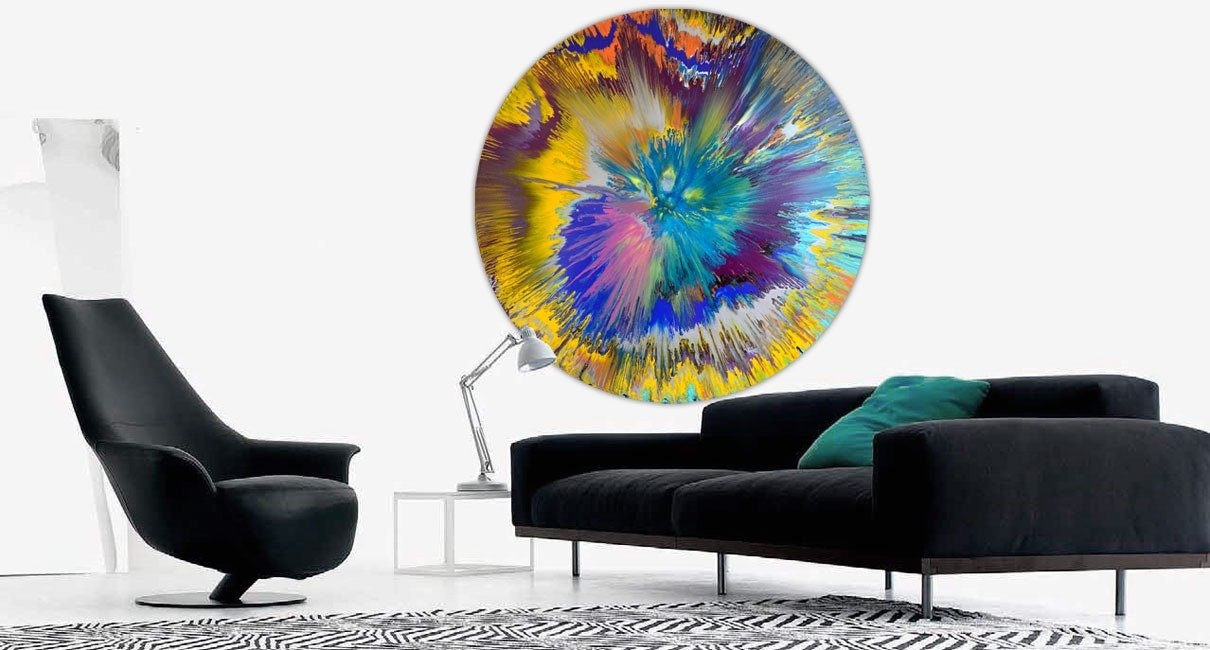 Black sofa and art