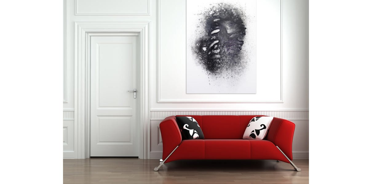 monochrome painting on a wall