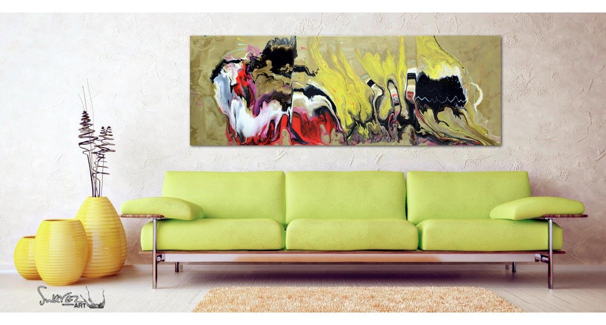 green sofa and yellow carpet