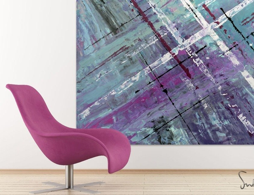 Aqua blue art with pink