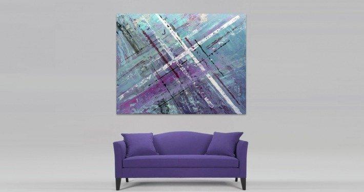 bright purple sofa