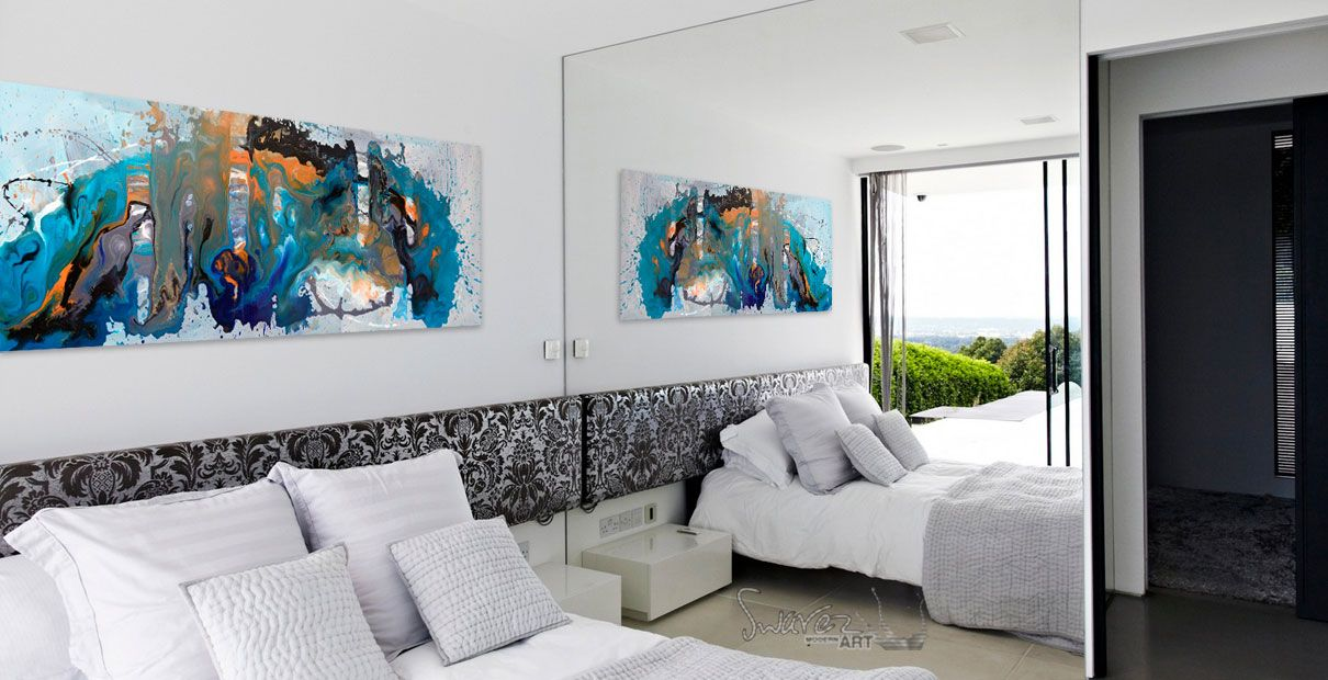 Blue and orange abstract art 39 marooned 39 is 6ft long - Over the bed art ...