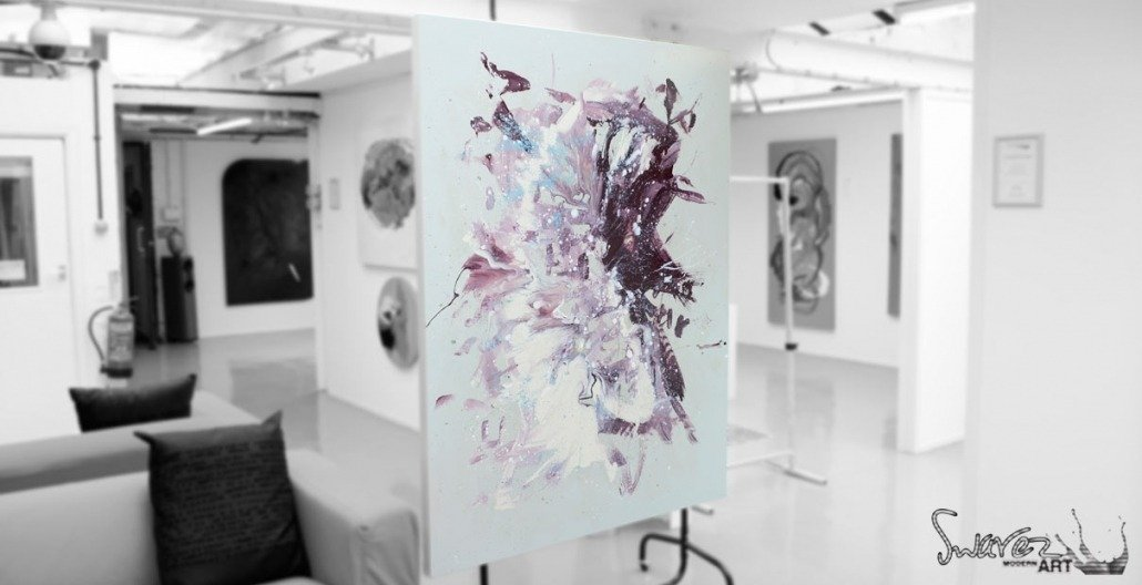 Freefall painting on a stand in my gallery