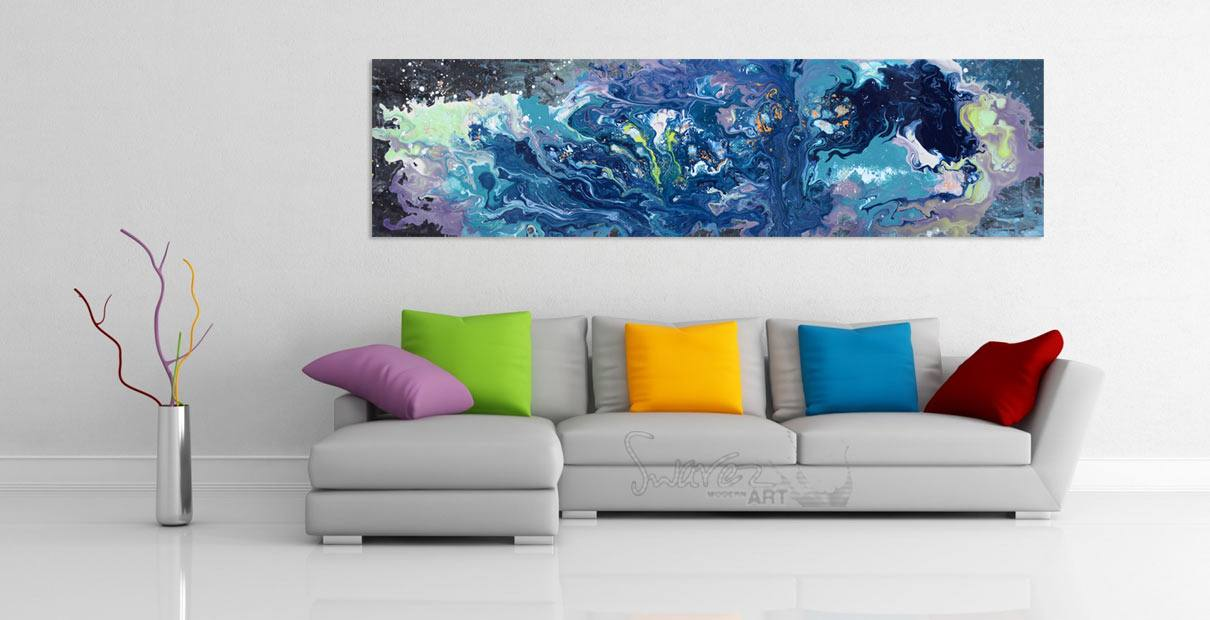 Long blue coloured painting hng on a wall