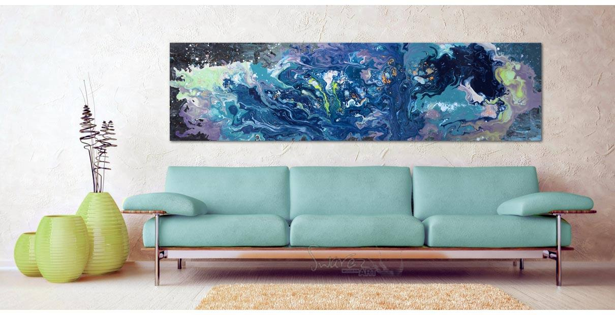 Neverwhere painting hung on a stone wall above a sofa