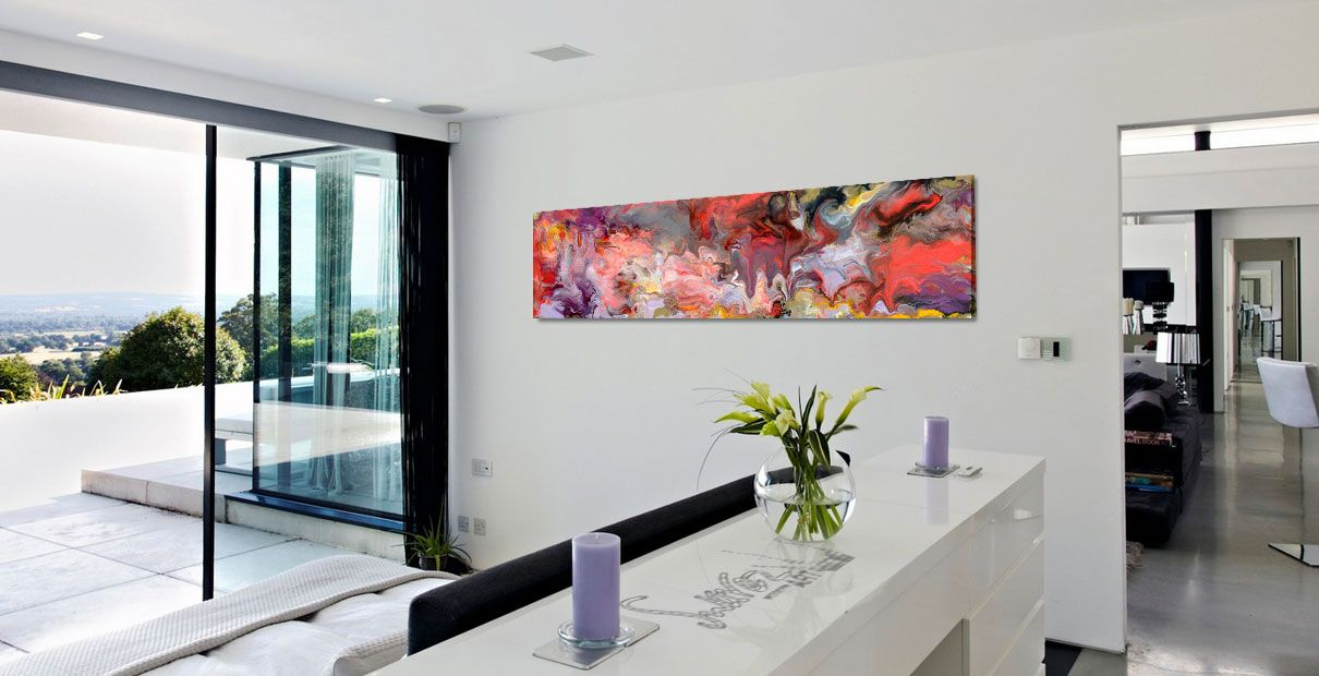 Panoramic viwew from a bedroom with art on the wall