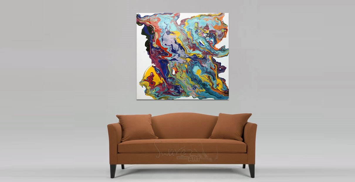 Taupe velour settee with art